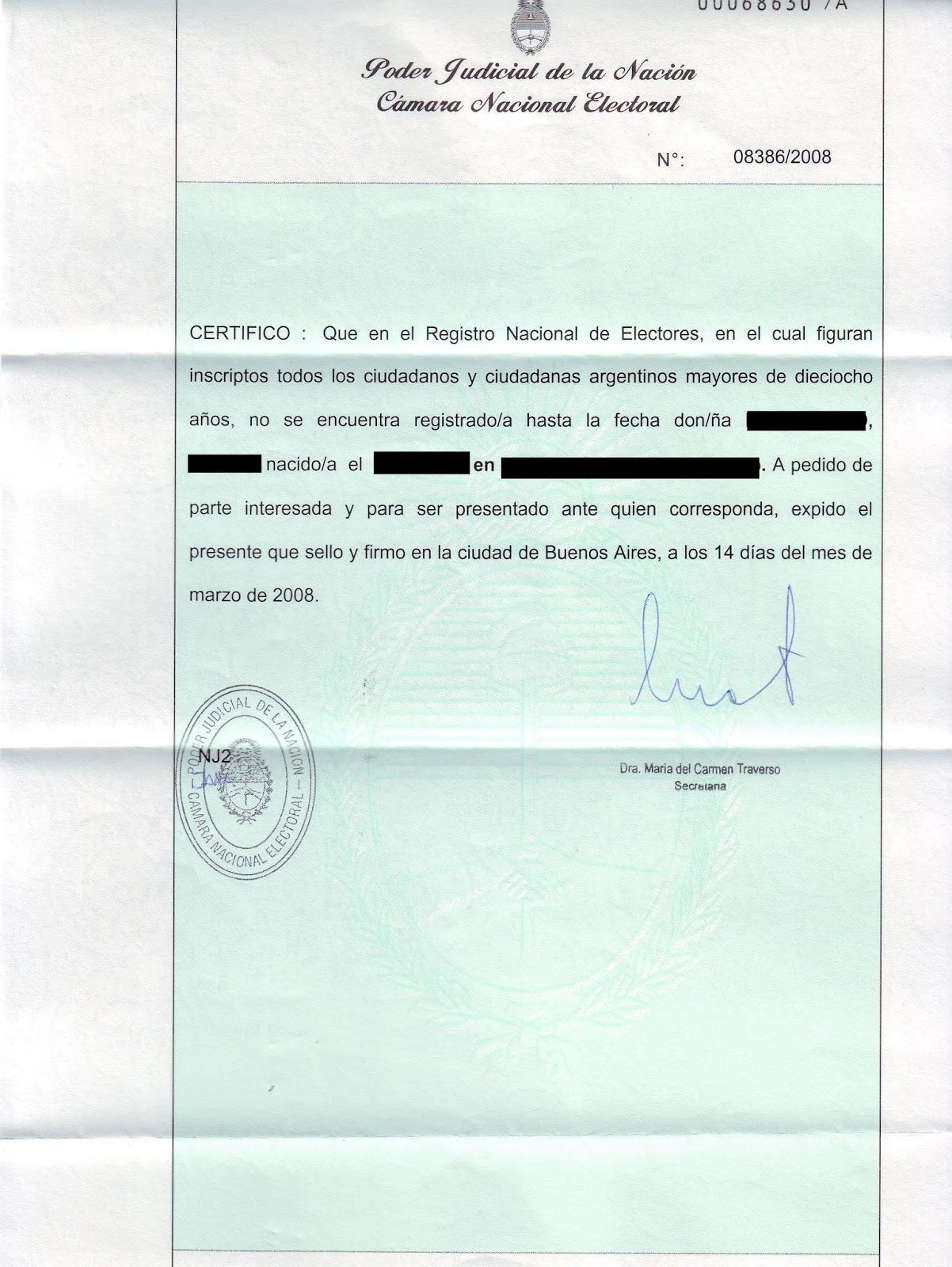 Que es el Certificado de No Ciudadano Argentino ~ Ciudadania Italiana