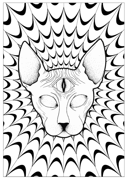 Coloringpagescatpsychedelicsphynxbylouise Free To Print