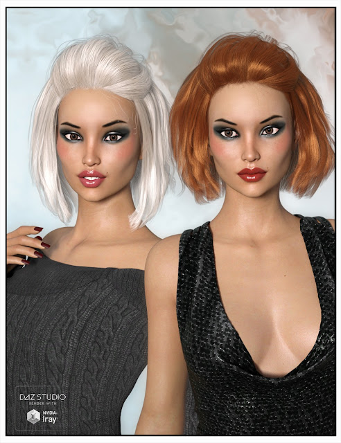 Rhio Hair for Genesis 3 Female and Genesis 2 Female
