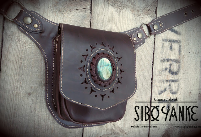 Festival Belt-Leather Utility Belt-Leather Hip Belt-Belt Bag-Waist Bag with LABRADORITE Stone HANDMADE by Sibo Yanke
