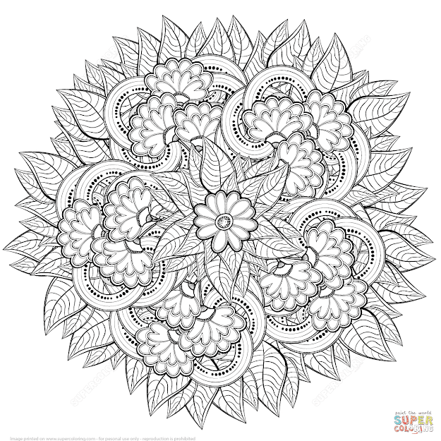Click The Abstract Flowers Zentangle Coloring Pages To View Printable  Version Or Color It Online Patible With Ipad And Android Tablets