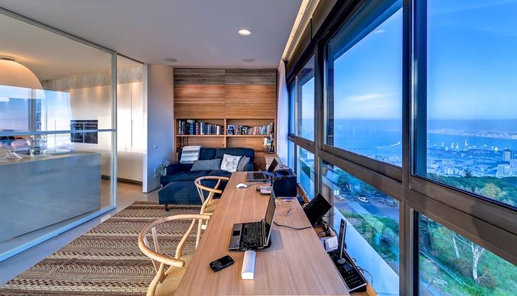 Wooden Desk In Apartment Haifa By Alex Menashe