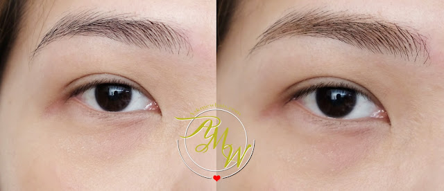 before and after photo of Cathy Doll Brow Mascara Dark Chocolate