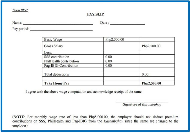 (Sample Of Kasambahay Payslip From DOLE)  Format Of A Payslip