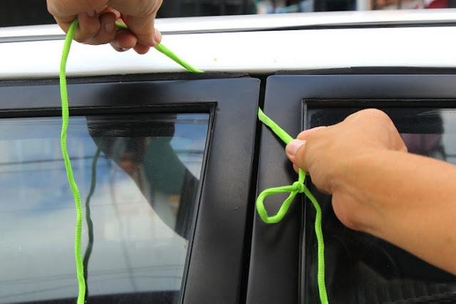 аварийное открытие дверей автомобиля с помощью шнурка