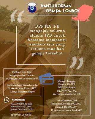 Bantuan HA IPB untuk korban gempa Lombok