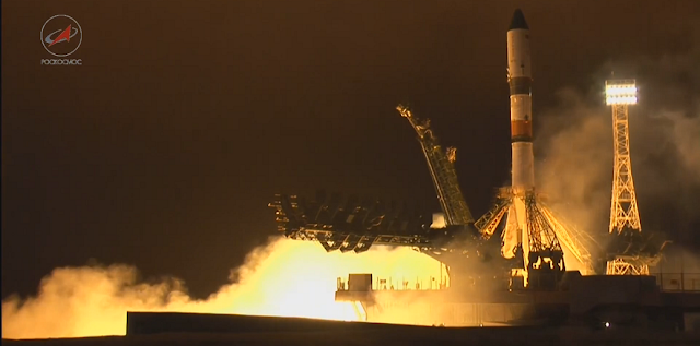 Soyuz 2.1a launch with Progress MS-2. Image Credit: Roscosmos TV