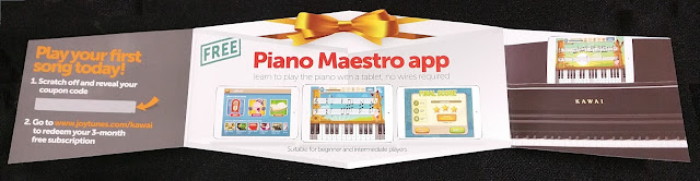 Scratch off free Piano Maestro coupon for Kawai piano purchase