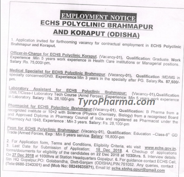 ECHS Recruitment 2018 - Pharmacist job for ECHS Bramhapur