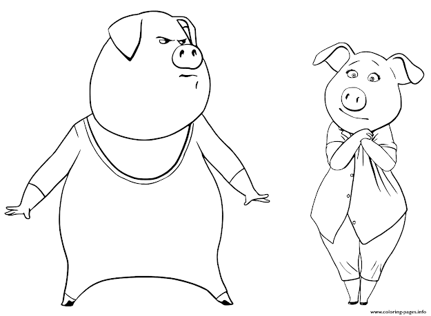 Pigs From Sing Coloring Pages Gunter And Rosita Printable Coloring Pages  Book