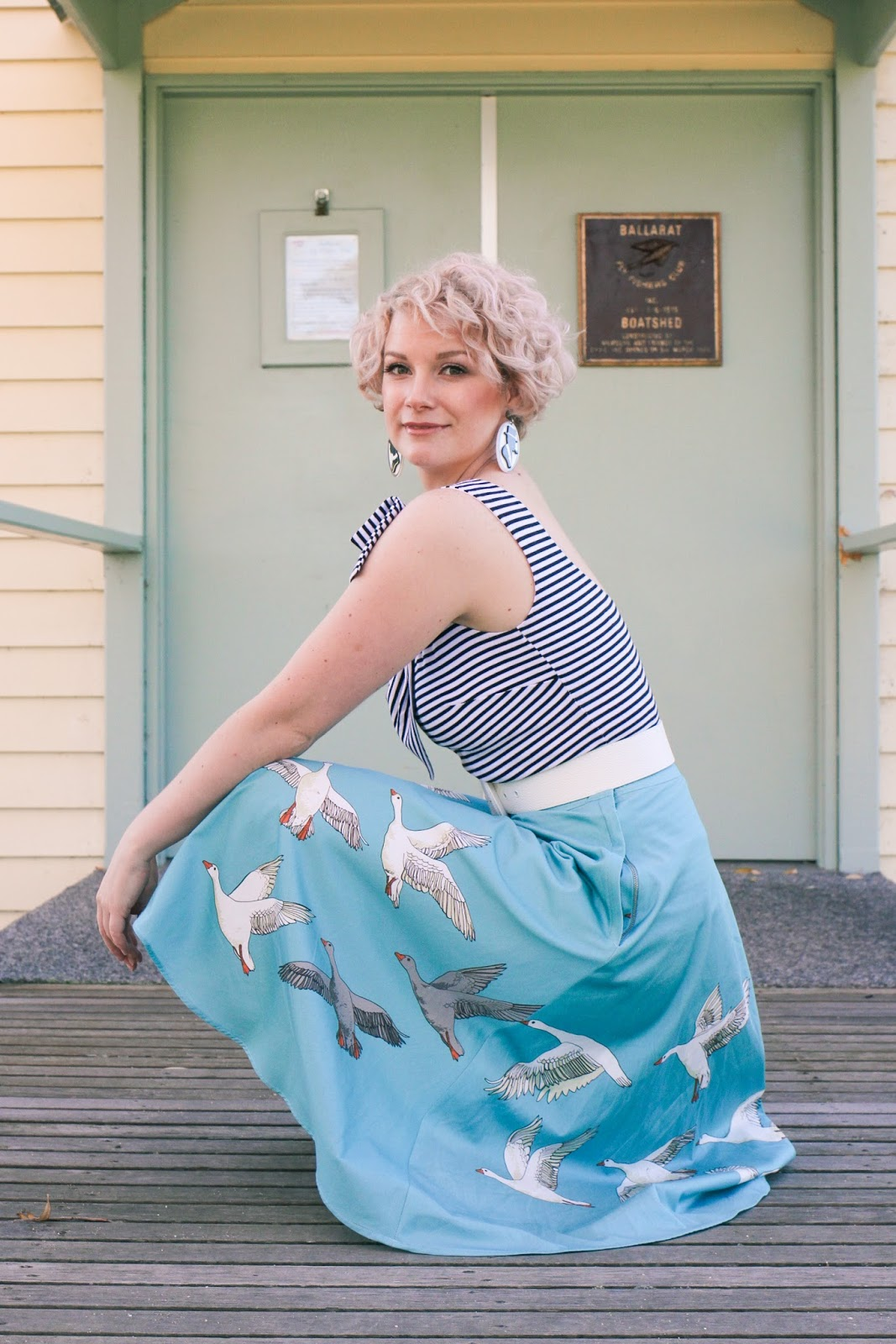 @findingfemme wears miss shop striped bow top, erstwilder earrings, Modcloth heels, Review Australia belt and Jane skirt in Geese from Bob by Dawn O'Porter in Ballarat.