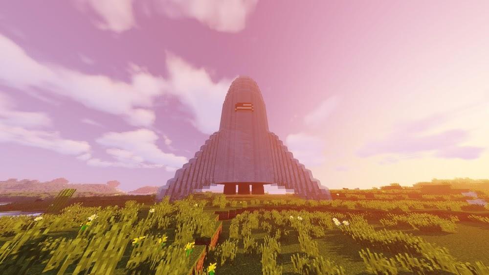 SpaceX Starhopper in Minecraft (sunset)