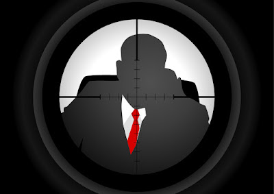a graphic of aiming at a target through a rifle scope