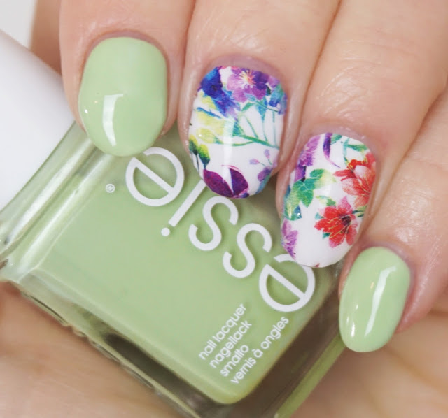 Miss Sophie's, Essie, Going Guru, Pastellgrün, Green, Flowers, Summer, Nail Art, Nail Wraps Folien, Tropical Garden Nail Design