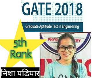 GATE Result 2018 - रुद्रप्रयाग की निशा की 5th रैंक