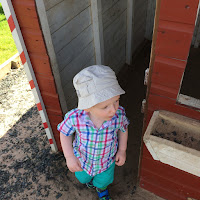 Child playing in a wooden house
