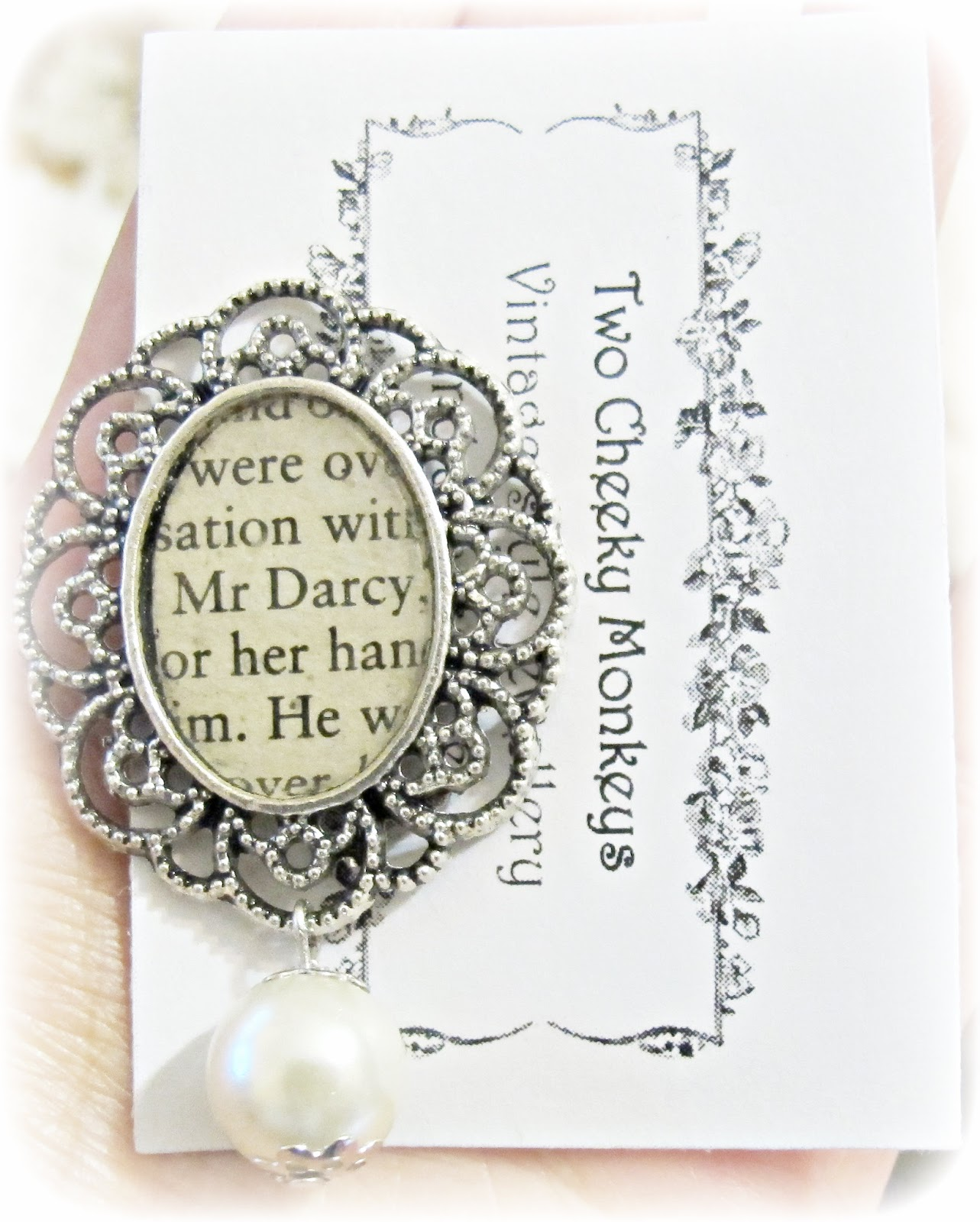image mr darcy brooch bouquet pin ivory glass pearl silver jane austen pride and prejudice