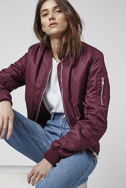 burgundy bomber jacket, terracotta bomber jacket,