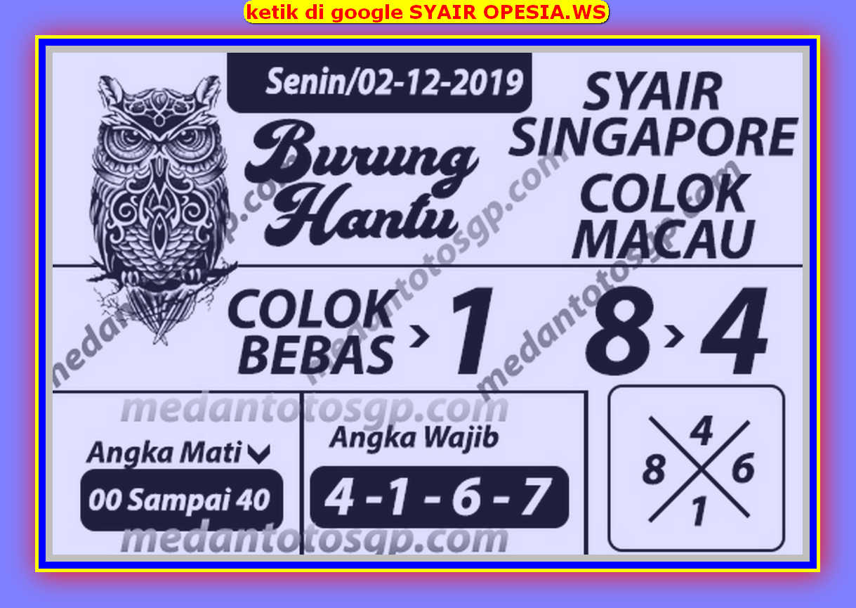 Kode syair Singapore Senin 2 Desember 2019 154