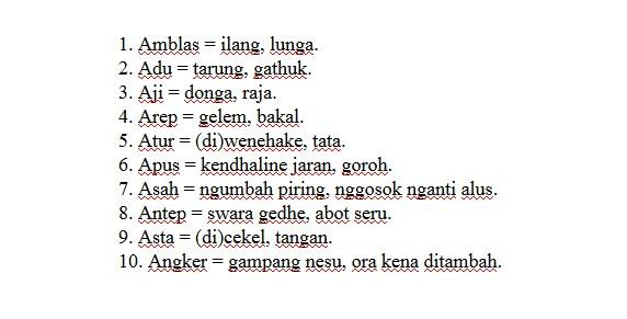 10 Contoh Dan Arti Tembung Homonim Bahasa Jawa Berawalan Huruf A