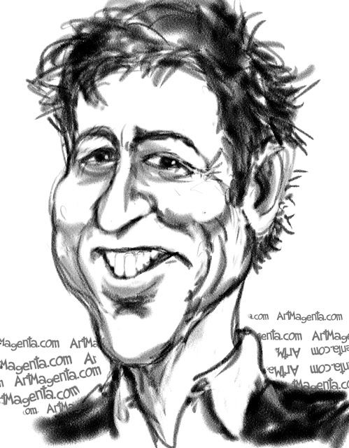 Hugh Grant caricature cartoon. Portrait drawing by caricaturist Artmagenta.