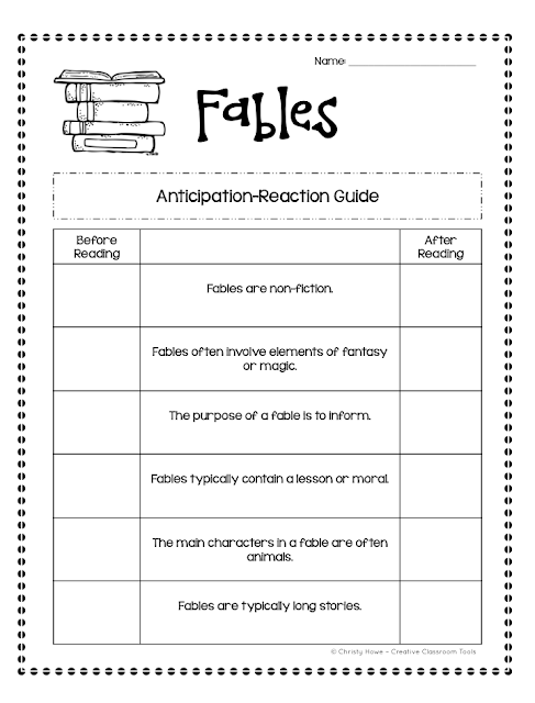Anticipation Guides: prepare and motivate students for active learning! (ex: Fables)