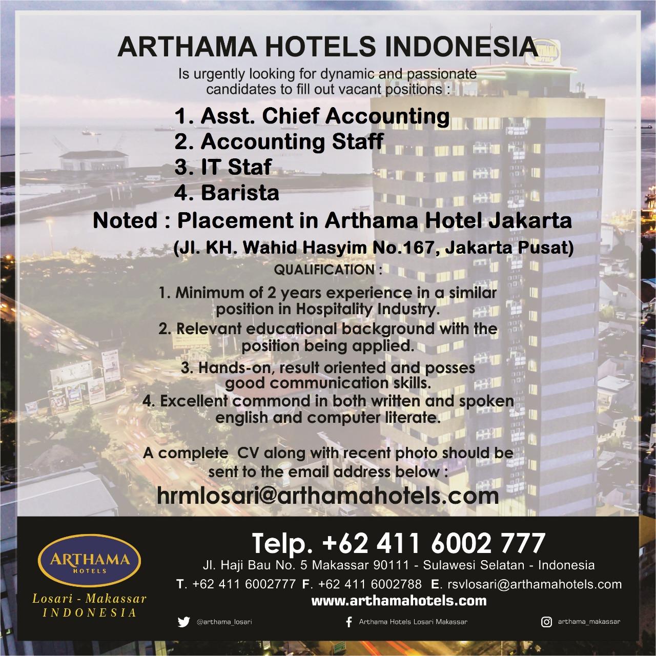 Lowongan Kerja Lowongan Kerja Arthama Hotel Makassar