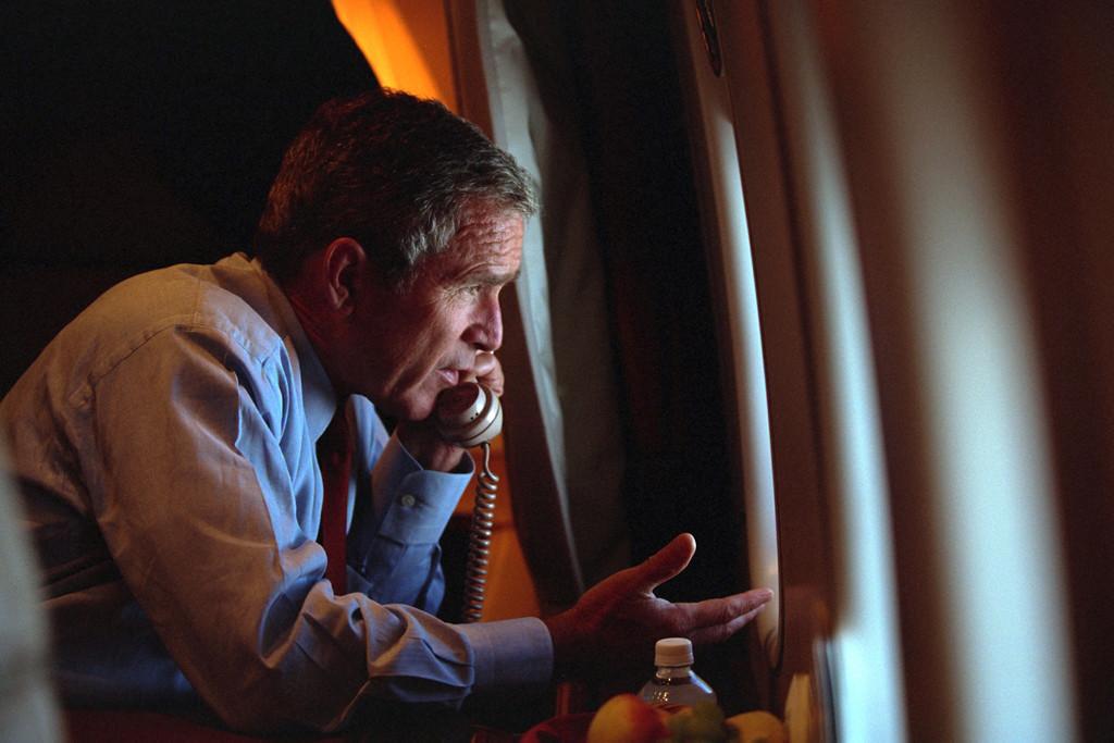 George W. Bush on board Air Force One