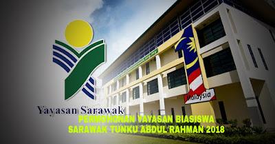 Permohonan Yayasan Biasiswa Sarawak Tunku Abdul Rahman 2018/2019 Online