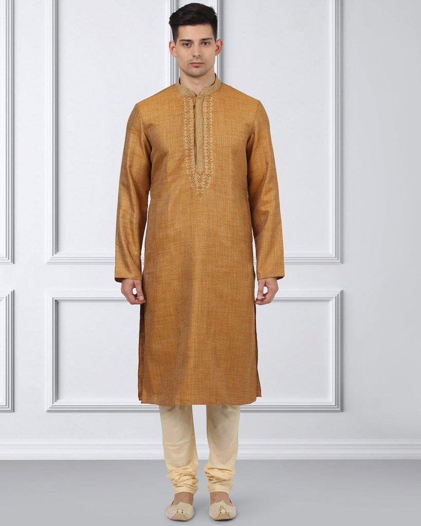 Ethnix Orange Regular Fit Kurta With Churidar