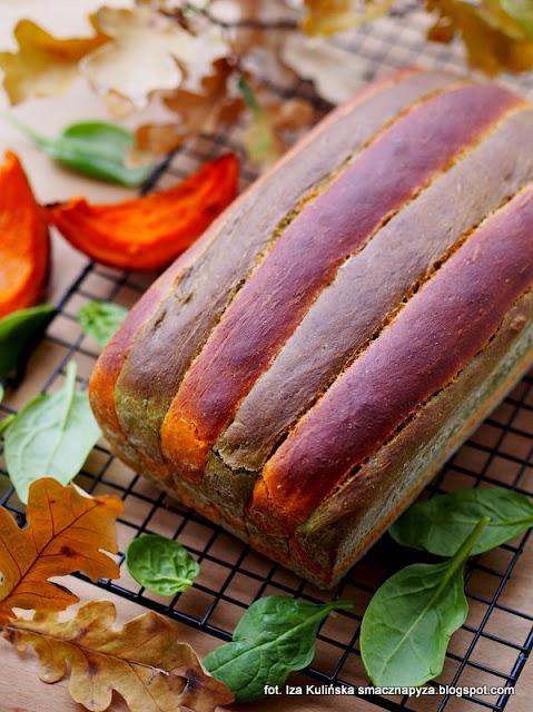 chleb z dynia i szpinakiem, chlebek dyniowy, jak upiec kolorowy chleb, pomysl na dynie, chleb drozdzowy z warzywami, latwy chleb jesienny, chleb szachownica, chlebek w kratke