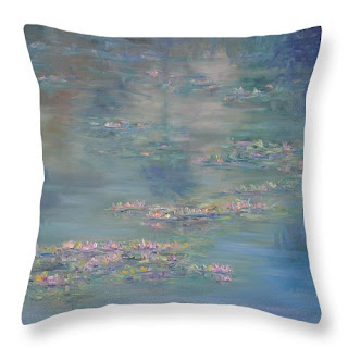 Monet Style Throw Pillow with Water lilies and green peaceful