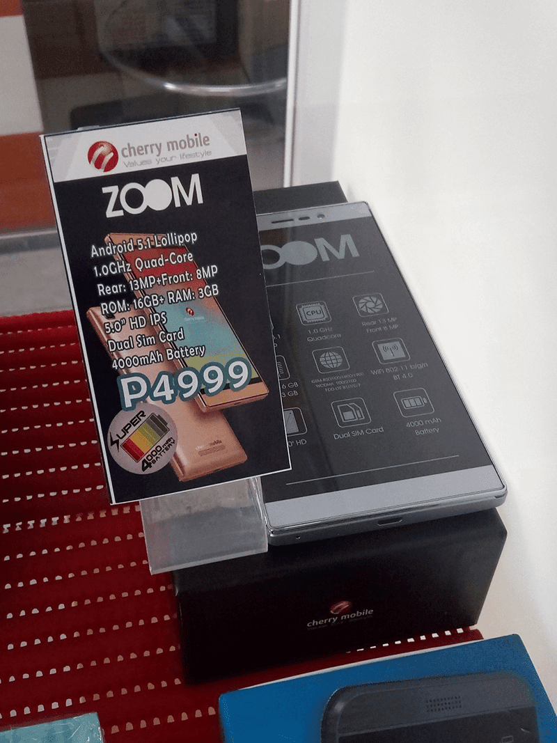 Cherry Mobile Zoom is priced at 4,999 Pesos only