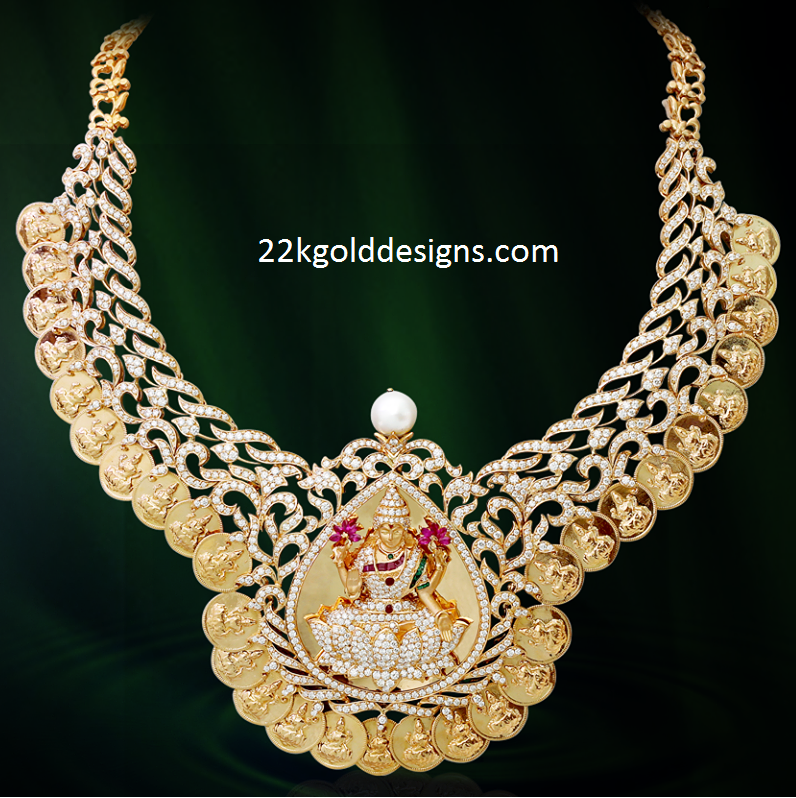 Kirtilals Diamond Kasu Necklace Design