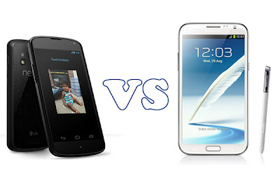 Samsung Galaxy Note 2 vs Nexus 4
