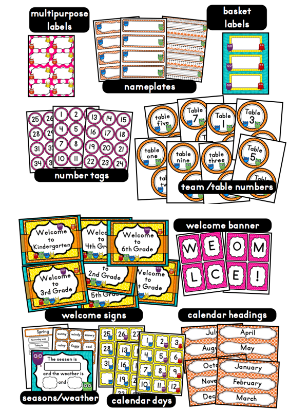 Classroom Decoration Freebies ~ Owls themed classroom ideas printable