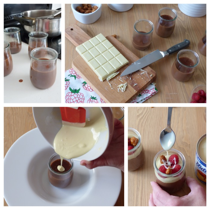 elaboración de una copa de natillas de chocolate con galleta de chocolate blanco y frambuesa