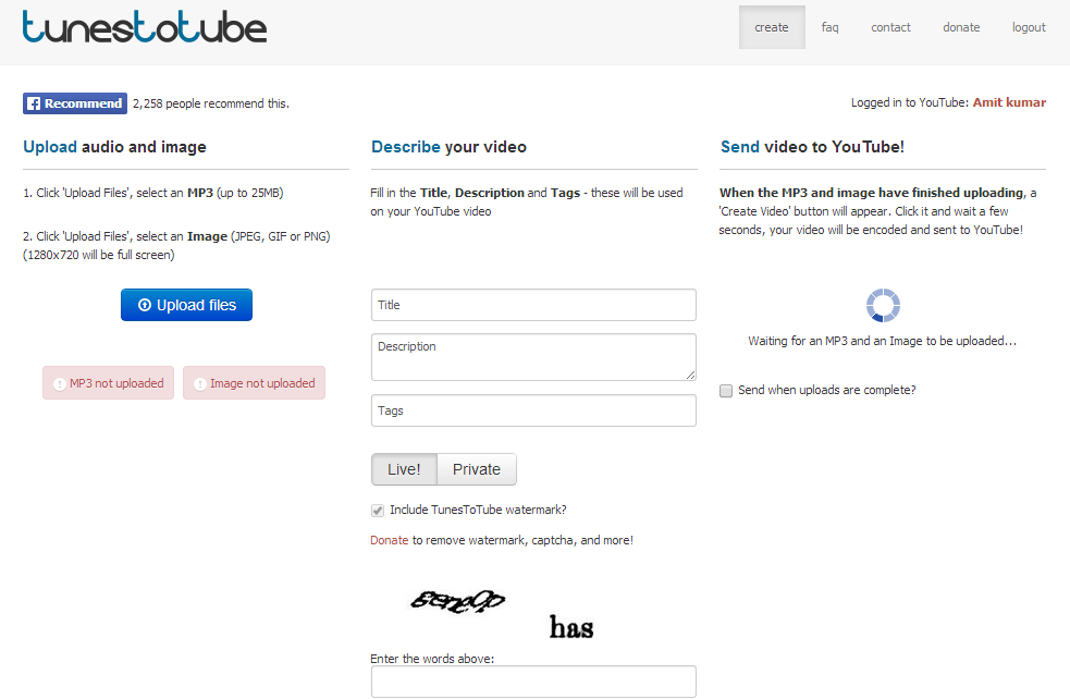 Upload MP3 on YouTube in HD Using TunesToTube