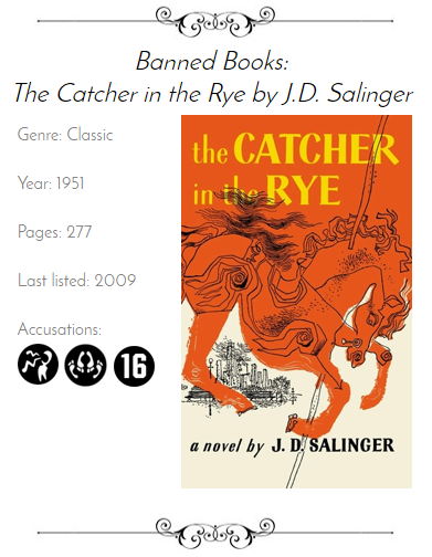 catcher in the rye ban The catcher in the rye has been on the banned reading list for exactly those reasons the book was mainly put on disapproval from between 1966 and 1975 in almost every school district in the united states.
