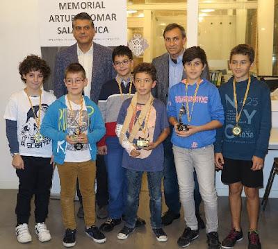 I Memorial Arturo Pomar Salamanca, Javier Ochoa y Eduardo Pomar con los Sub12