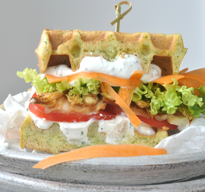glutenfree Waffle-Sandwich with spring herbs and grilled asparagus