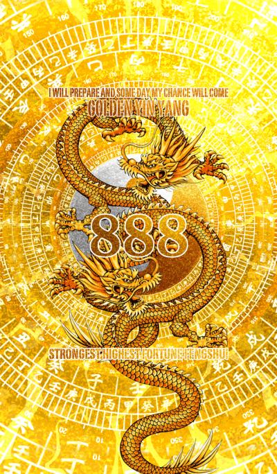 Golden yin yang and golden dragon 8