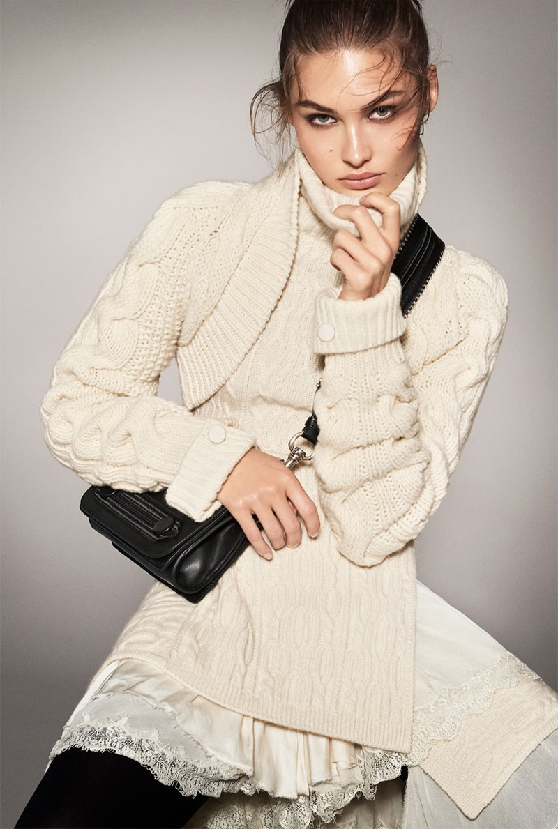Grace Elizabeth models luxe knitwear in Zara's fall-winter 2017 campaign