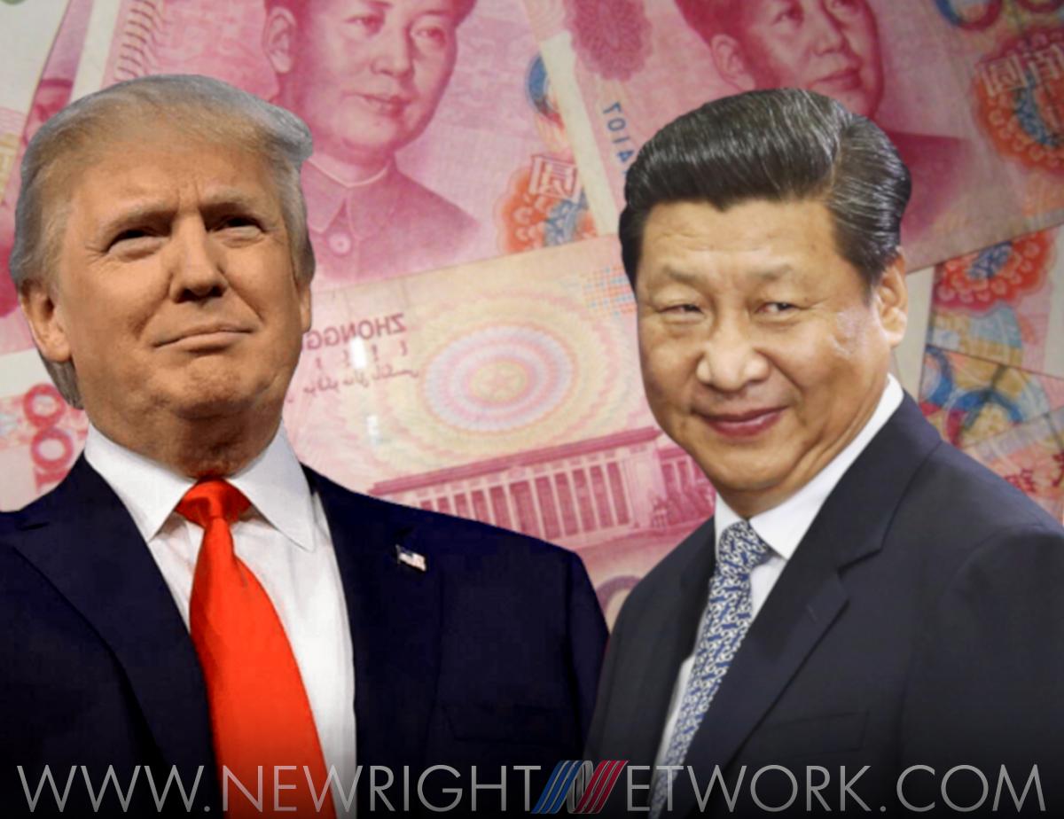 President Donald Trump, Xi Jinping, backdrop of Yuan