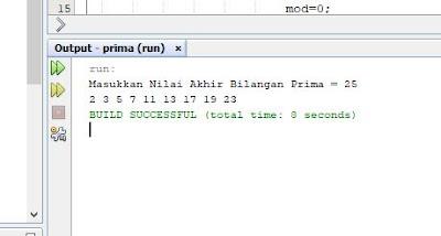 menampilkan deret bilangan prima 2 3 5 7 9 13 17 dst dengan java dan logika program menentukan deret bilangan prima
