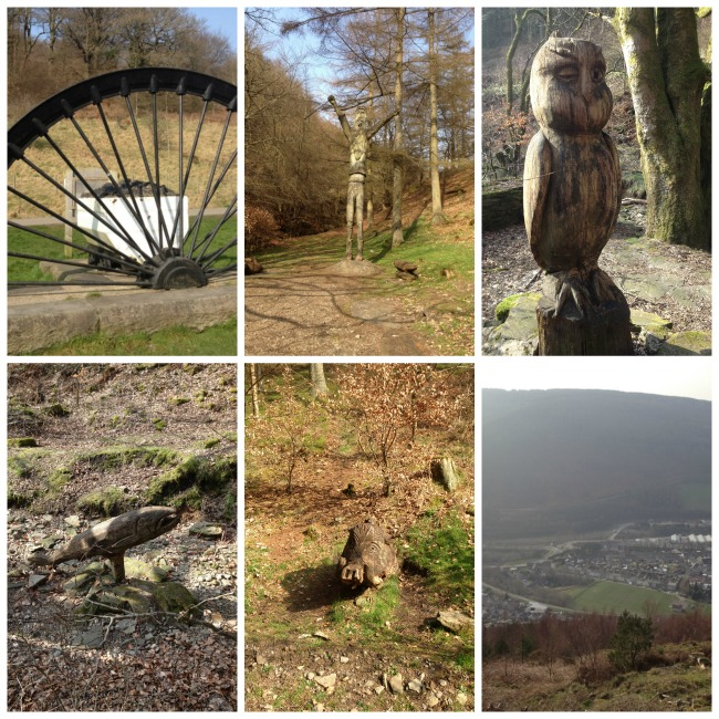 collage-of-wooden-sculpture-owl-boar-salmon-big-giant-and-a-half-buried-mine=shaft-wheel-cwm-carn-forest-2012