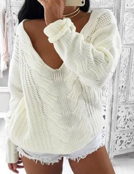 Knitted Oversized Long White Sweater