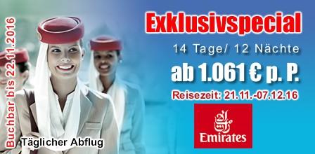 Emirates Exklusiv Sonderangebote Dubai Malediven, Thailand, Sri Lanka, Vietnam, Philippinen