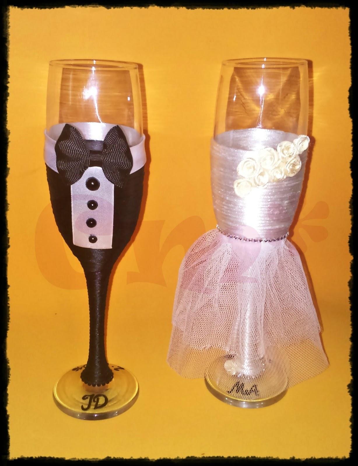 Bonitos detalles copas para bodas decoradas - Copas decoradas con velas ...