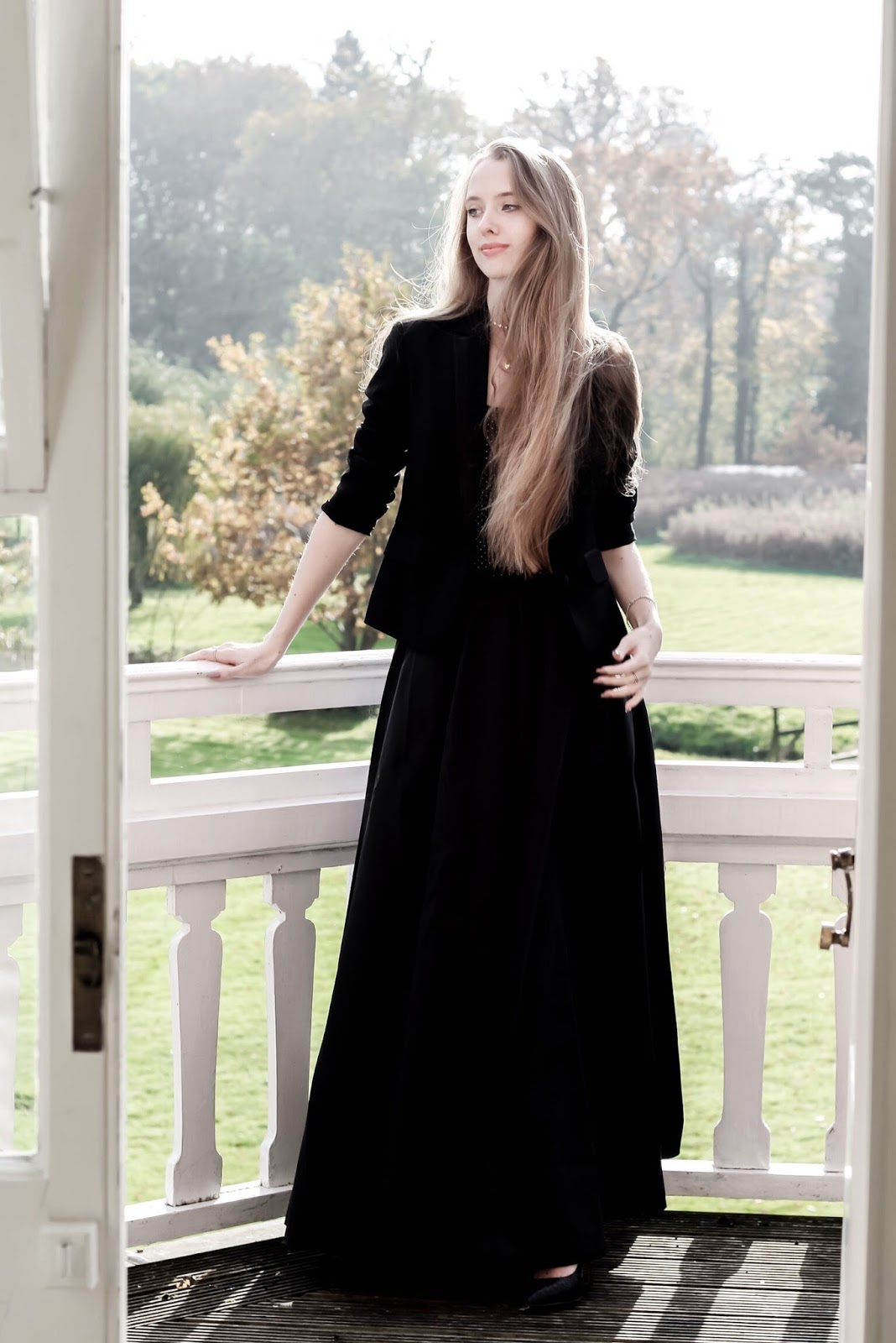 NYE All Black Dramatic Styling Tuxedo Maxi Skirt